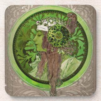 Mujer en verde - LAUREL Posavaso