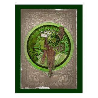 Mujer en verde - LAUREL Postal