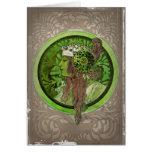 Mujer en verde - LAUREL Tarjetas
