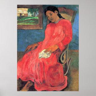 Mujer en vestido rojo de Eugène Enrique Paul Póster