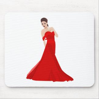 Mujer en vestido rojo alfombrilla de raton