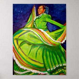 Mujer en vestido verde póster