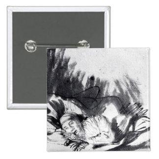 Mujer enferma en una cama, quizá Saskia Pin Cuadrada 5 Cm