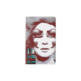 Mujer entre el cuaderno de las ventanas funda para libreta y libreta pequeña moleskine