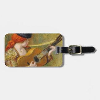 Mujer española joven con una guitarra, 1898 etiqueta de maleta