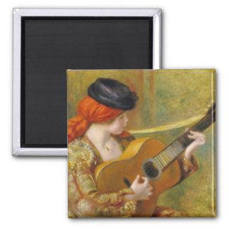 Mujer española joven con una guitarra, 1898 imán cuadrado