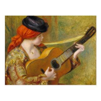 Mujer española joven con una guitarra, 1898 postal