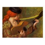 Mujer española joven por Renoir, arte del Postal