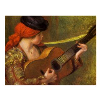 Mujer española joven por Renoir arte del Postales