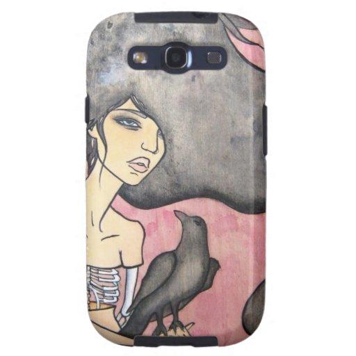 Mujer esquelética con el cuervo galaxy s3 fundas