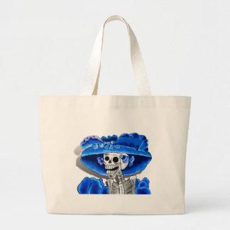 Mujer esquelética de risa en capo azul bolsa tela grande