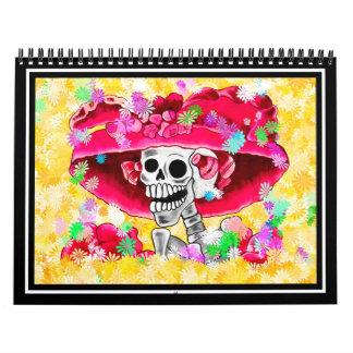 Mujer esquelética de risa en capo rojo calendario de pared