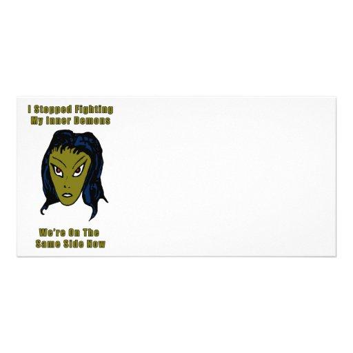 Mujer extranjera malvada verde el mismo lado ahora tarjetas personales