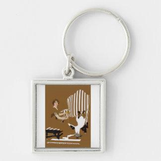 Mujer Fadeaway de Coles Phillips con el collie Llavero Cuadrado Plateado