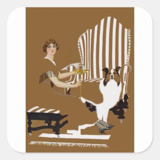 Mujer Fadeaway de Coles Phillips con el collie Pegatina Cuadrada
