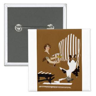 Mujer Fadeaway de Coles Phillips con el collie Pin Cuadrado