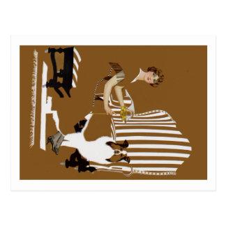 Mujer Fadeaway de Coles Phillips con el collie Postales