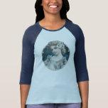 Mujer floral del vintage en azul camisetas