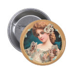 Mujer floral del vintage pins