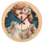 Mujer floral del vintage reloj de pared
