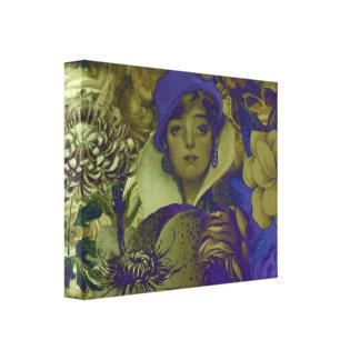 Mujer fluorescente Trippy del vintage Lona Envuelta Para Galerias