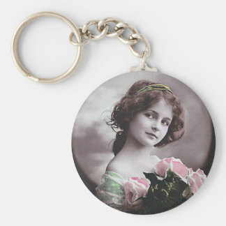 Mujer francesa del Victorian de las mujeres retras Llavero Personalizado