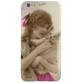 Mujer francesa del Victorian del vintage y perro Funda De iPhone 6 Plus Barely There