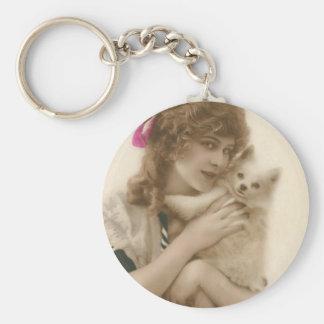 Mujer francesa del Victorian del vintage y perro Llaveros