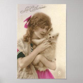 Mujer francesa del Victorian del vintage y perro Póster