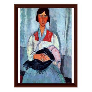 Mujer gitana con el niño de Modigliani Amedeo Postal