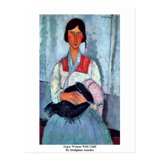 Mujer gitana con el niño de Modigliani Amedeo Postales
