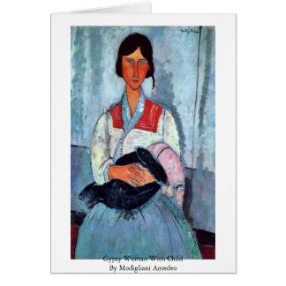 Mujer gitana con el niño de Modigliani Amedeo Tarjeta De Felicitación