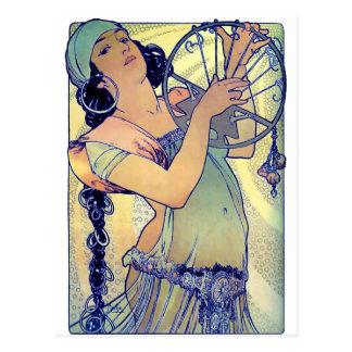 mujer gitana de la música de danza de la pandereta tarjeta postal