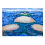 Mujer gorda gigante flotante en su Bik verde Postal