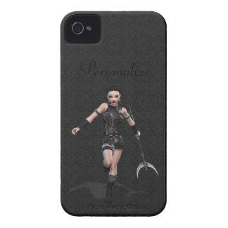 Mujer gótica intrépida del guerrero de Blackberry Case-Mate iPhone 4 Carcasas