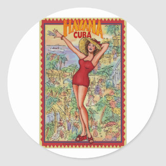 Mujer Havana: Vintage Cubano La Habana Pegatina Redonda