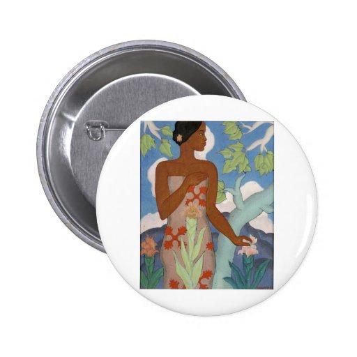 Mujer hawaiana, por Arman Manookian C. 1929 Pin Redondo 5 Cm