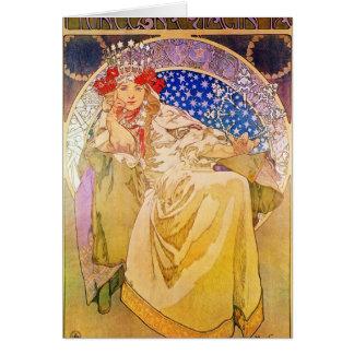Mujer hermosa #2 de Nouveau del arte de Alfonso Tarjeta De Felicitación
