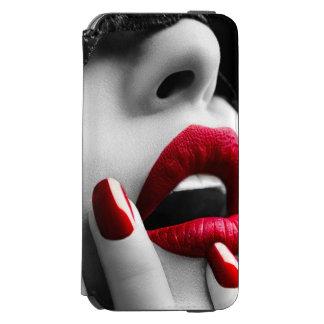 Mujer hermosa con la máscara negra del cordón funda cartera para iPhone 6 watson