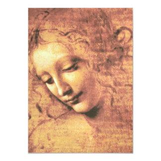 """Mujer hermosa de Leonardo da Vinci Invitación 4.5"""" X 6.25"""""""