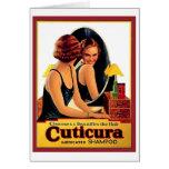 Mujer hermosa del anuncio del champú de Cuticura d Felicitaciones