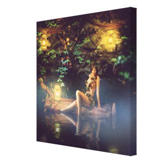 mujer hermosa del cuento de hadas - ninfa de lienzo envuelto para galerías