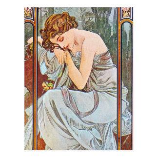 Mujer hermosa durmiente tarjetas postales