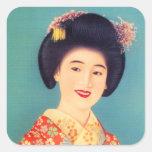 Mujer hermosa japonesa del geisha de la vintage pegatina cuadrada