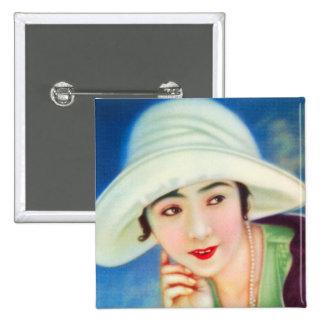 Mujer hermosa japonesa del geisha de la vintage pin cuadrado