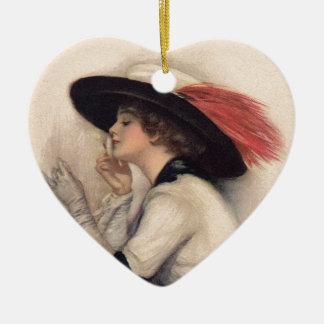 Mujer hermosa que vota - moda del sufragio del adorno navideño de cerámica en forma de corazón