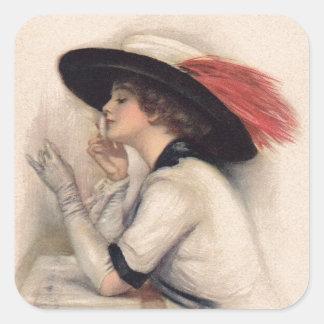 Mujer hermosa que vota - moda del sufragio del pegatina cuadrada