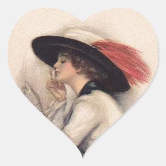 Mujer hermosa que vota - moda del sufragio del pegatina en forma de corazón