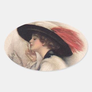 Mujer hermosa que vota - moda del sufragio del pegatina ovalada