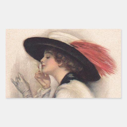 Mujer hermosa que vota - moda del sufragio del pegatina rectangular